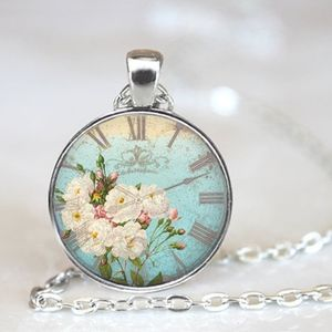Vintage Clock Flowers Silver Dome Glass Necklace